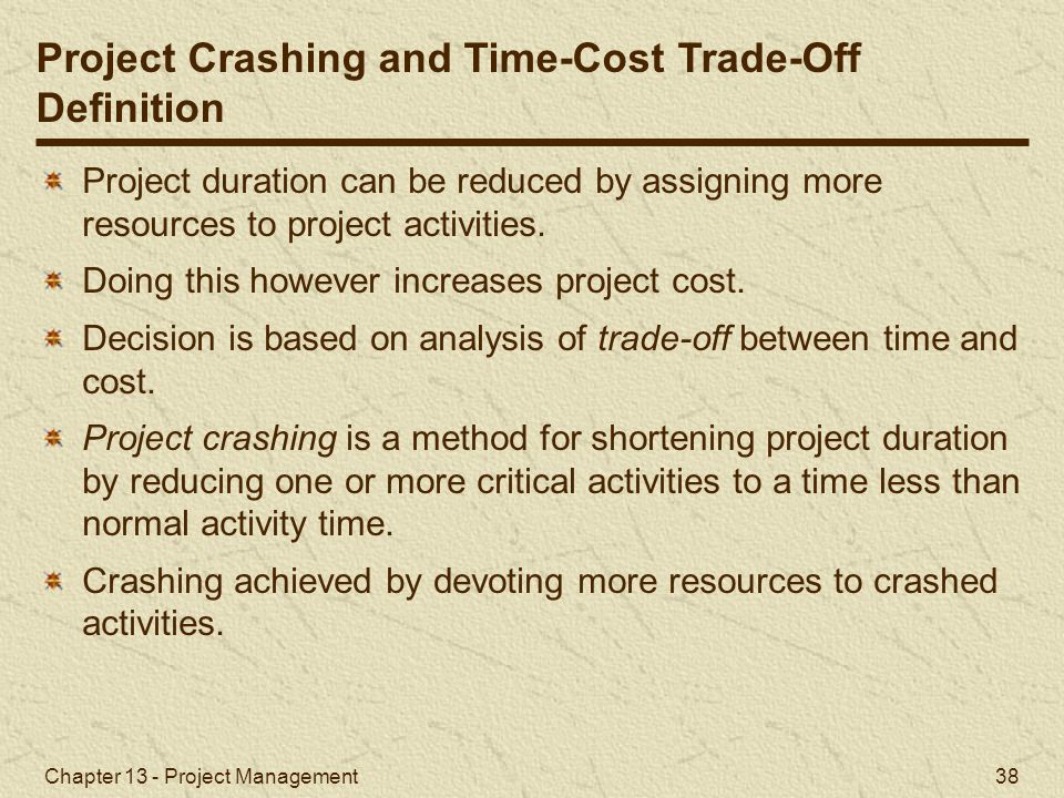 Project Crashing and Time-Cost Trade-Off Definition