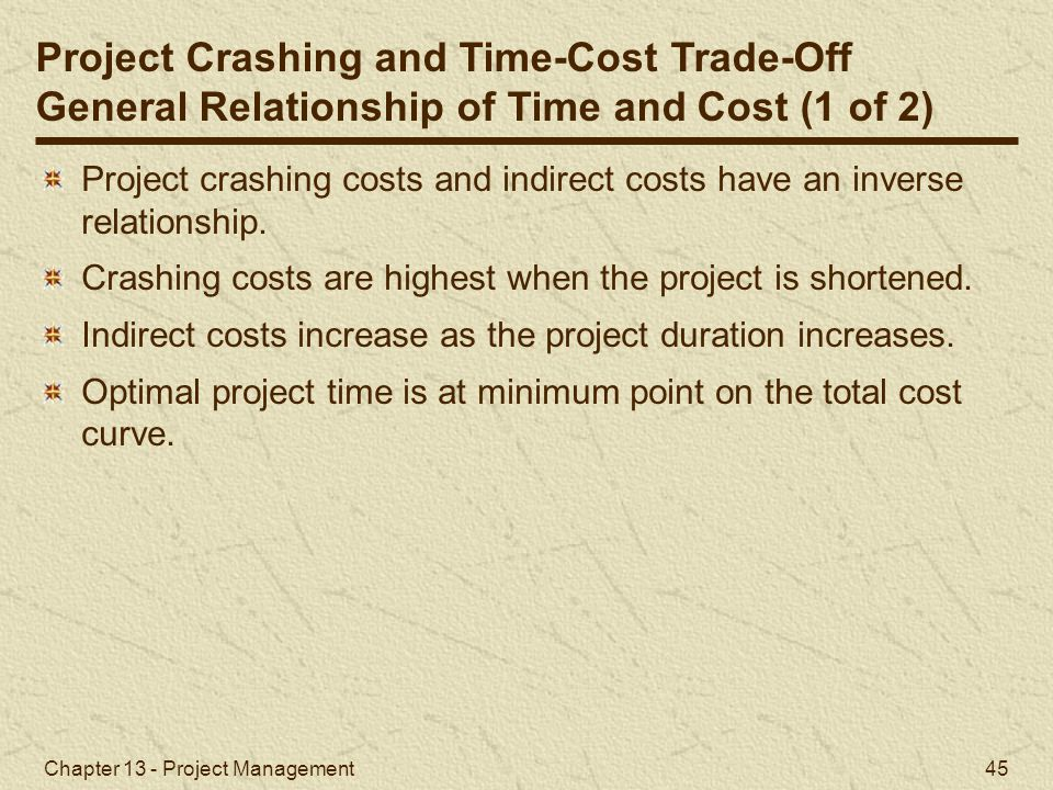 Project Crashing and Time-Cost Trade-Off