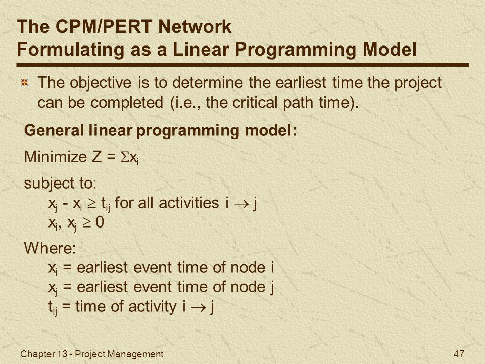 Formulating as a Linear Programming Model