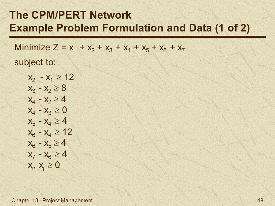 Example Problem Formulation and Data (1 of 2)