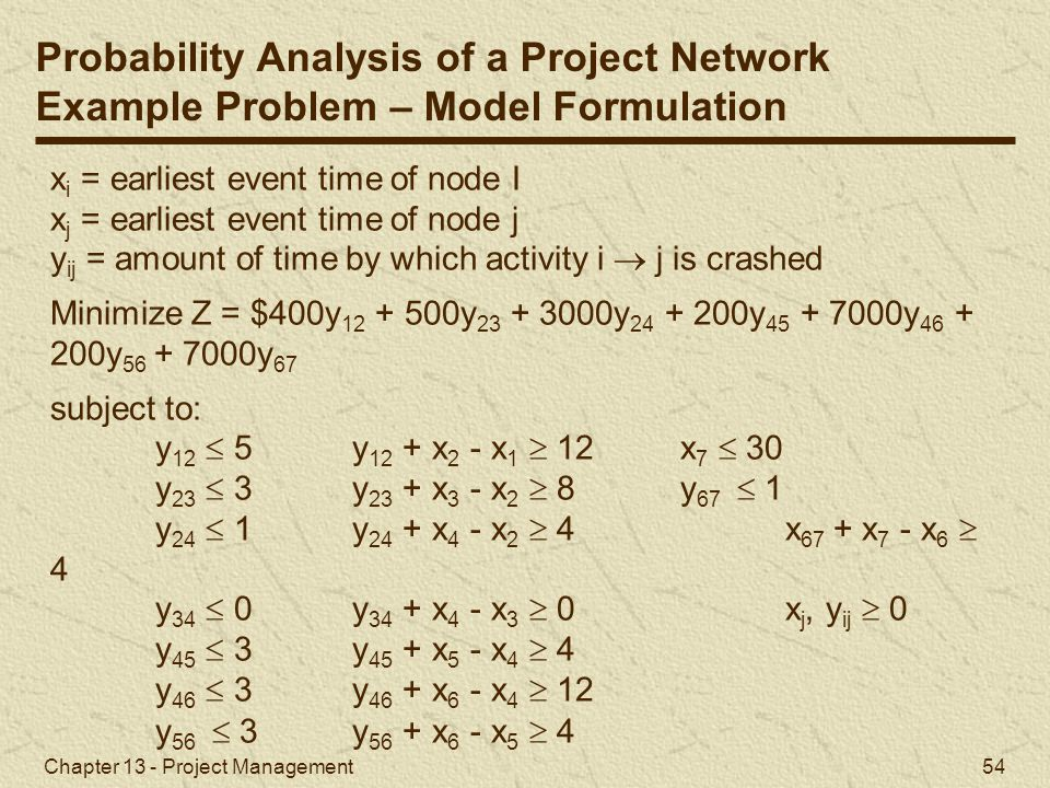 Probability Analysis of a Project Network