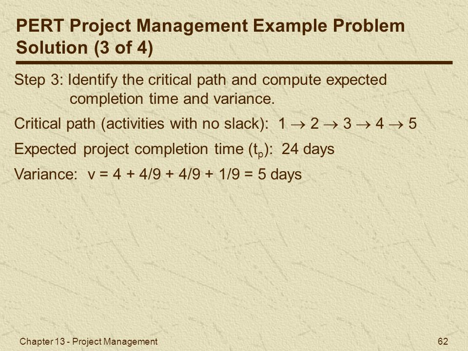 PERT Project Management Example Problem Solution (3 of 4)