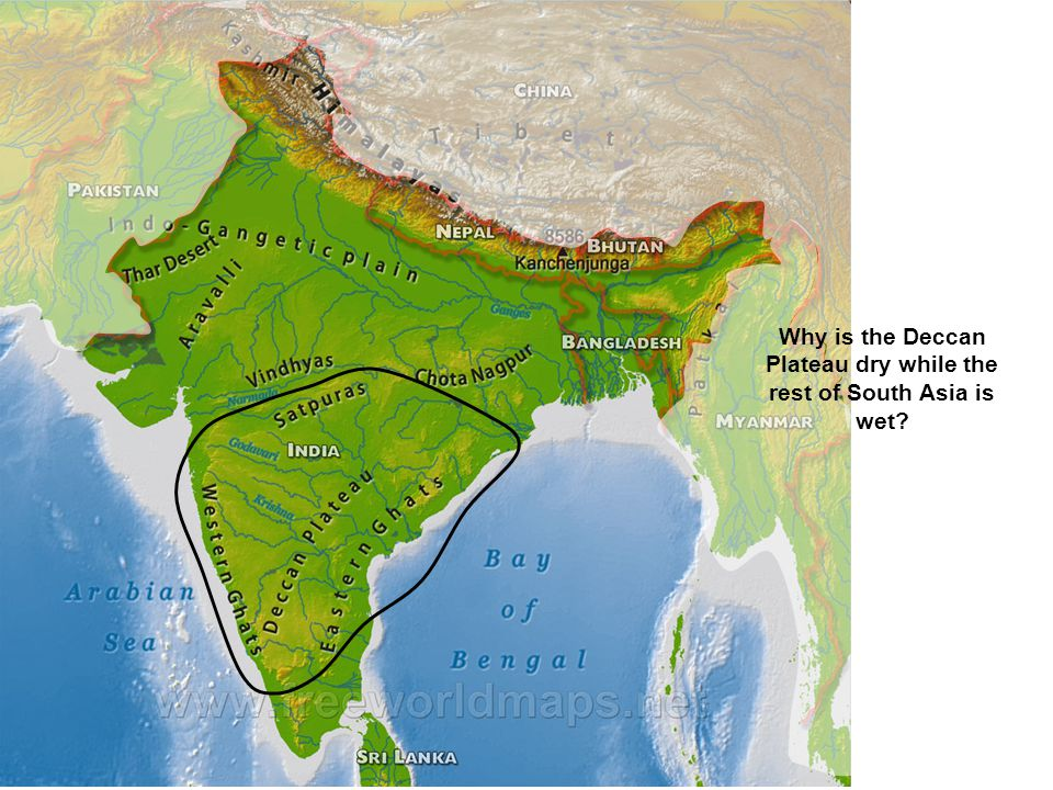 Why is the Deccan Plateau dry while the rest of South Asia is wet