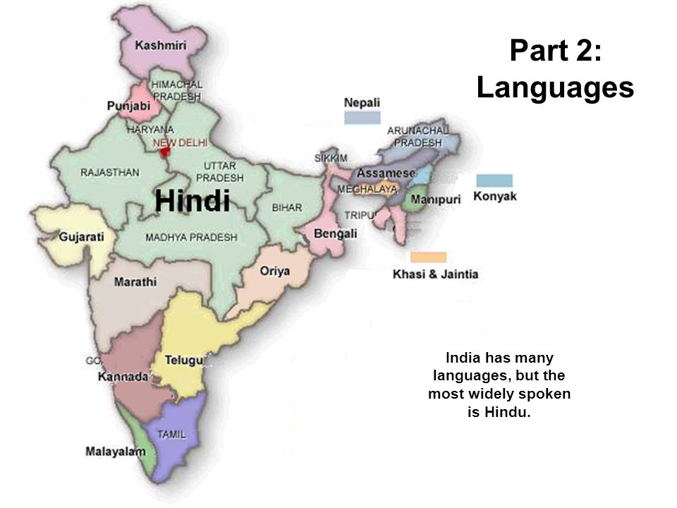 India has many languages, but the most widely spoken is Hindu.