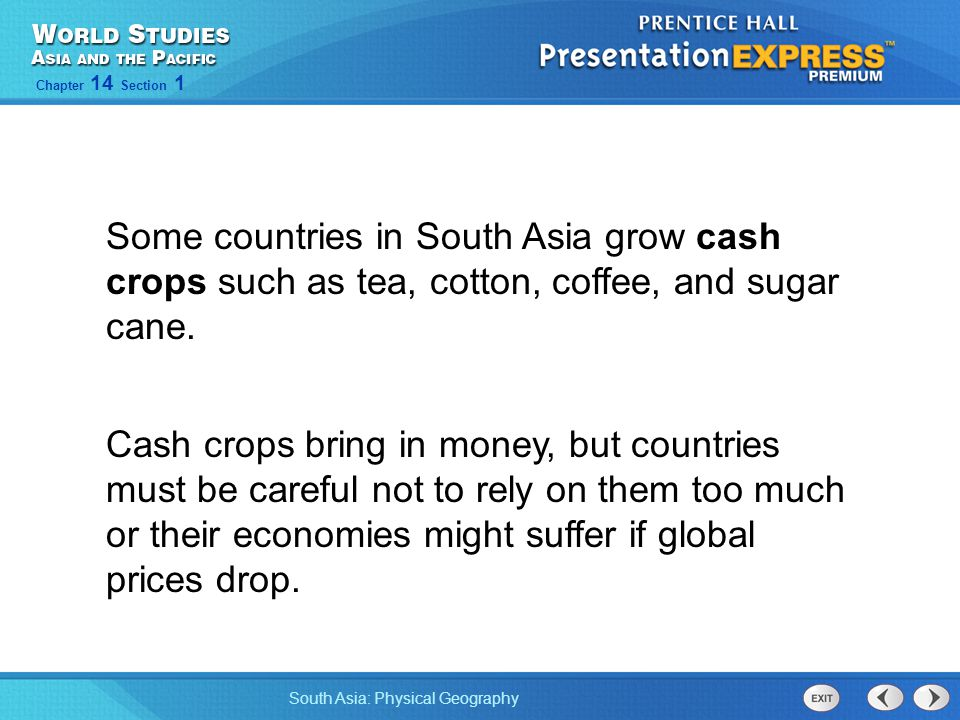 Some countries in South Asia grow cash crops such as tea, cotton, coffee, and sugar cane.