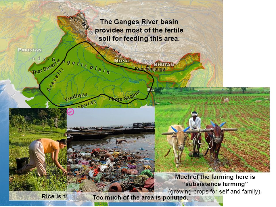 The Ganges River basin provides most of the fertile soil for feeding this area.