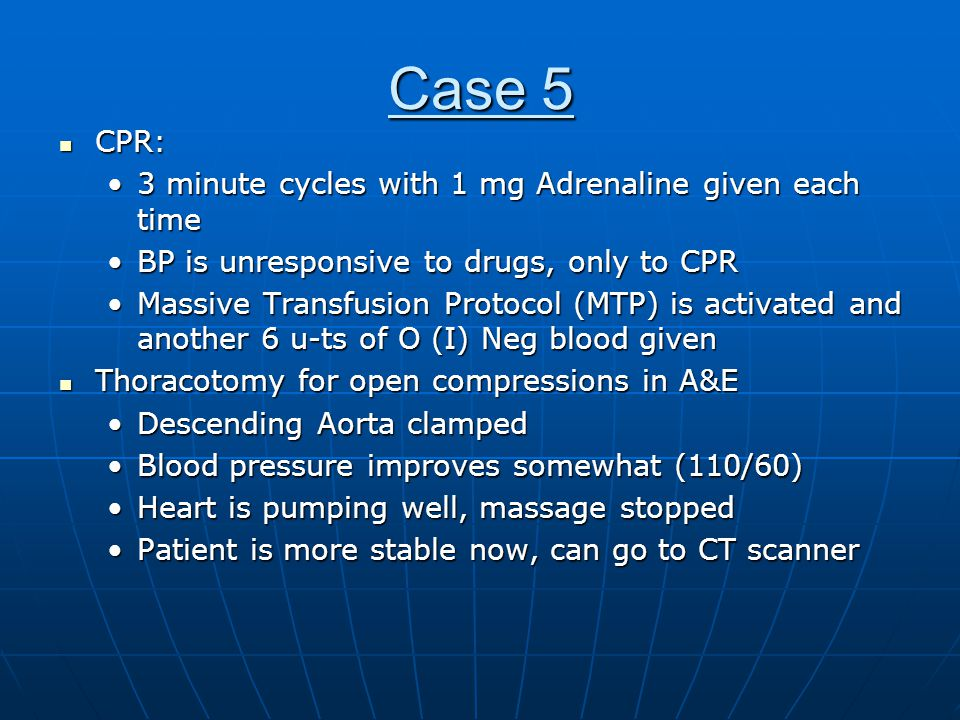 Case 5 CPR: 3 minute cycles with 1 mg Adrenaline given each time