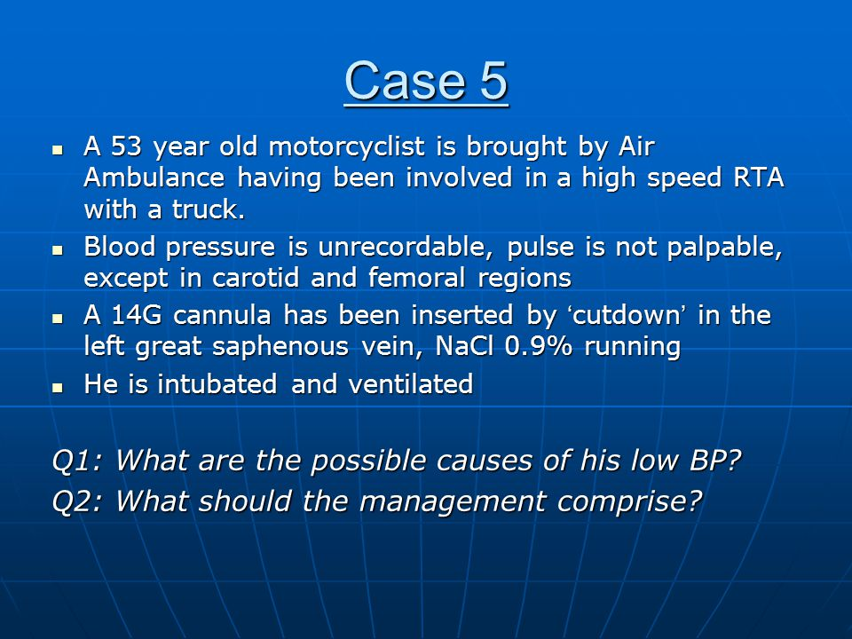 Case 5 Q1: What are the possible causes of his low BP