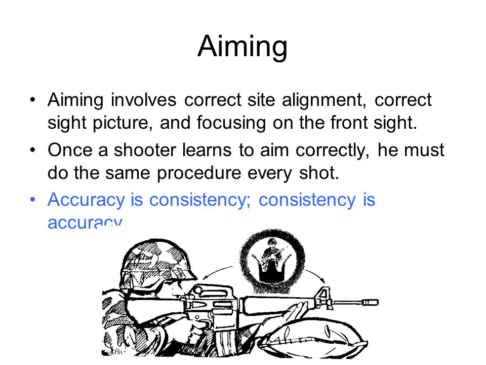 Aiming Aiming involves correct site alignment, correct sight picture, and focusing on the front sight.