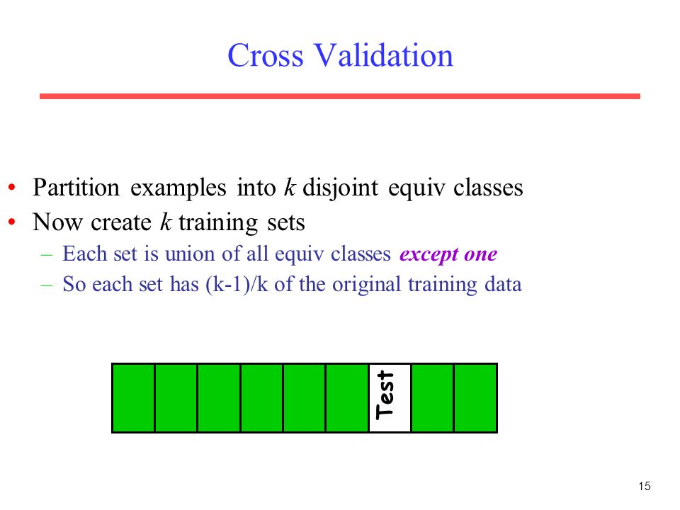 Cross Validation Partition examples into k disjoint equiv classes