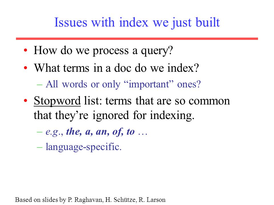 Issues with index we just built