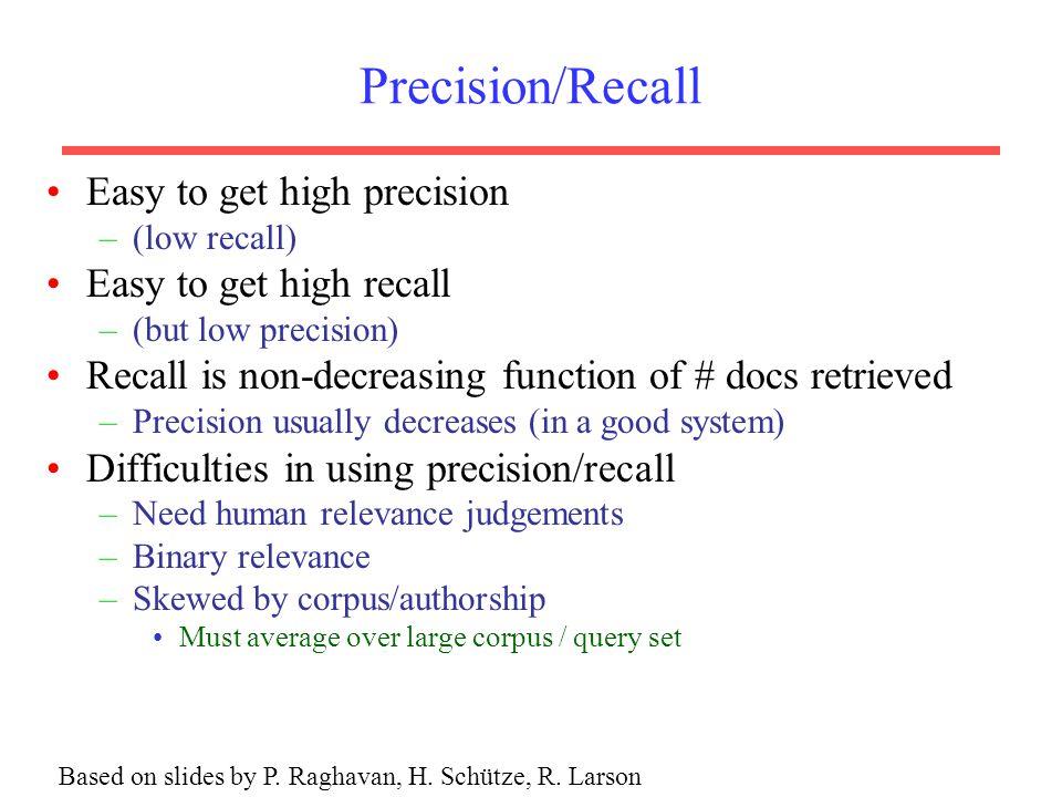 Based on slides by P. Raghavan, H. Schütze, R. Larson