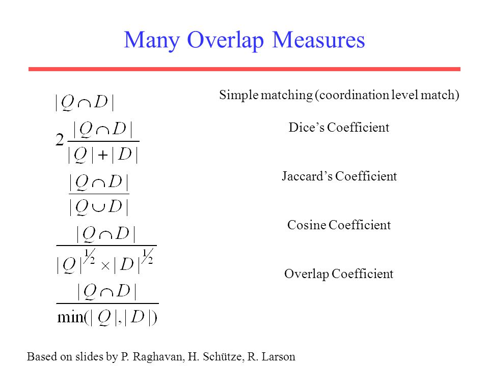 Many Overlap Measures Simple matching (coordination level match)