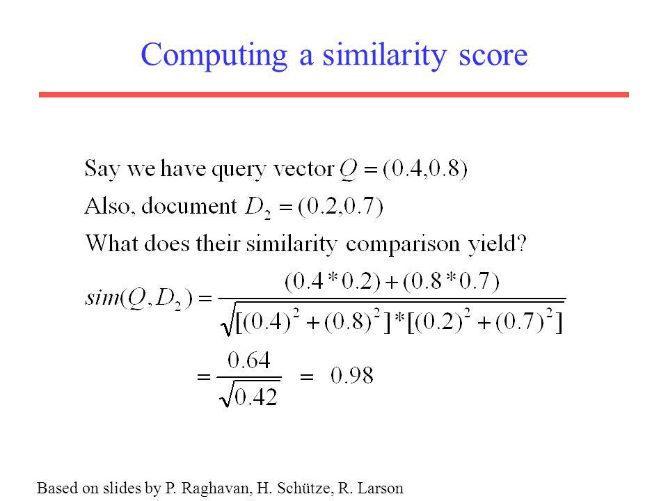 Computing a similarity score