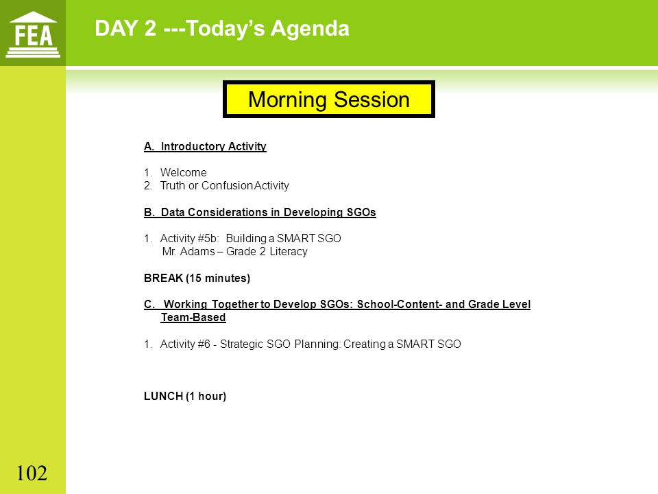 DAY 2 ---Today's Agenda Morning Session 102