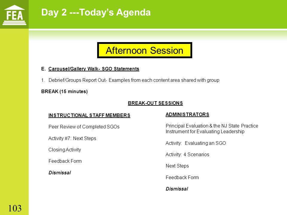 Day 2 ---Today's Agenda Afternoon Session 103