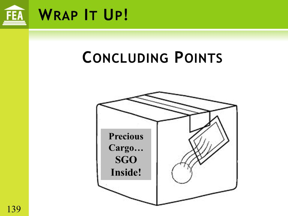 Wrap It Up! Concluding Points SGO Inside! Precious Cargo… 139