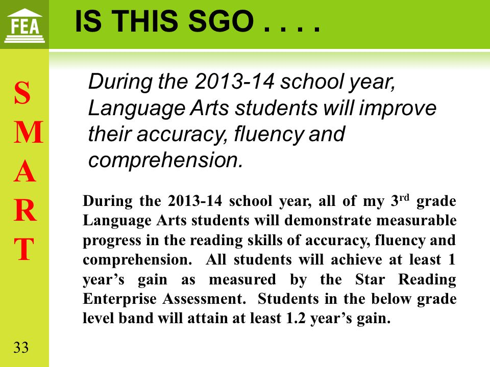 IS THIS SGO . . . . During the 2013-14 school year, Language Arts students will improve their accuracy, fluency and comprehension.