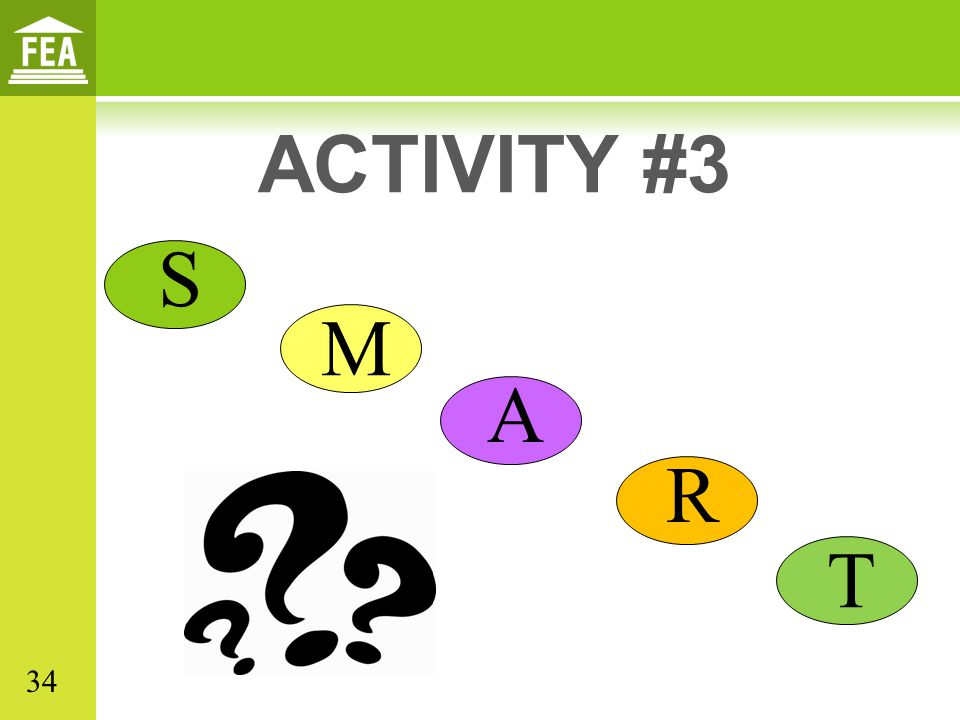 ACTIVITY #3 S. M. A. R. In the participant's manual, there are several SGOs for participants to review.
