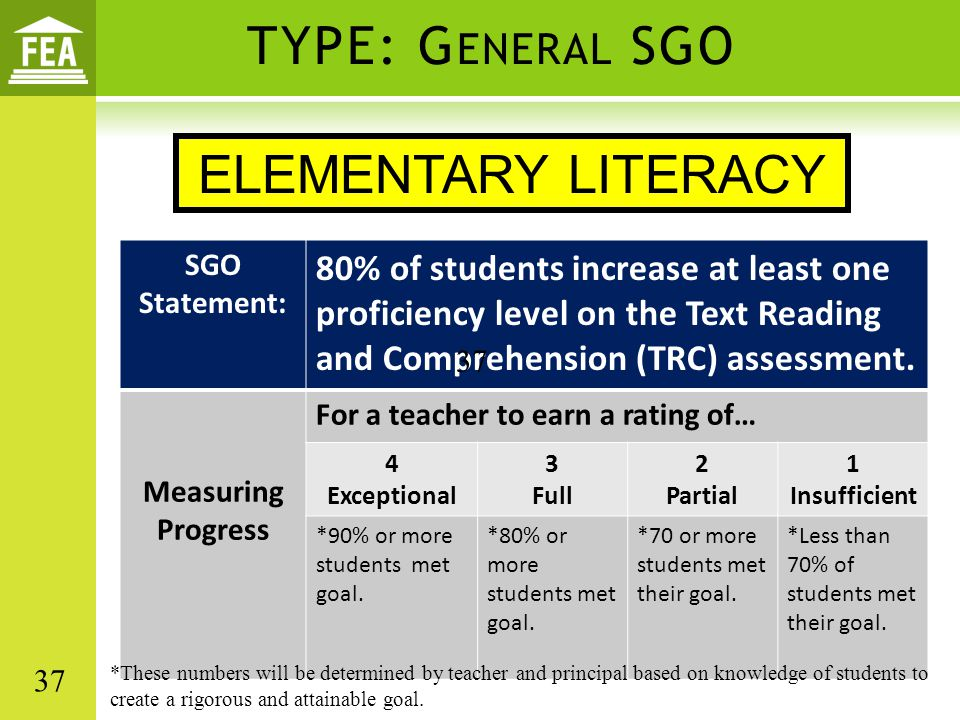 TYPE: General SGO ELEMENTARY LITERACY