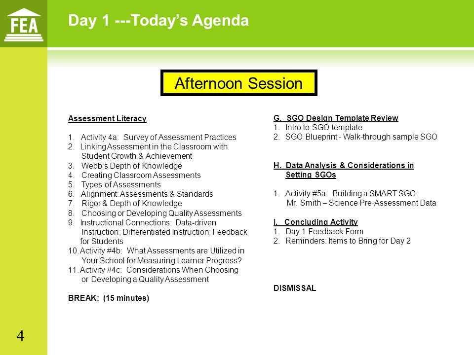 Day 1 ---Today's Agenda Afternoon Session 4