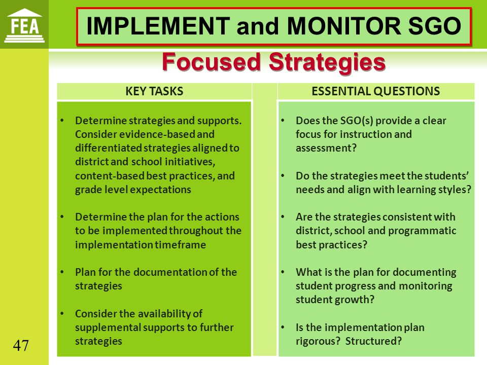 IMPLEMENT and MONITOR SGO