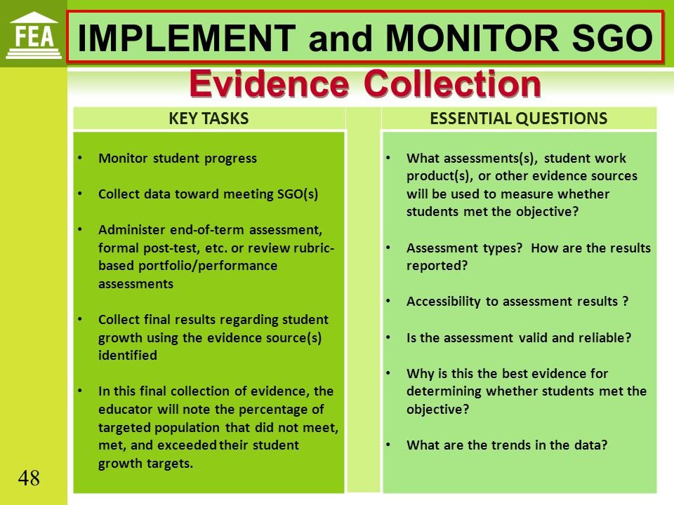 IMPLEMENT and MONITOR SGO Evidence Collection