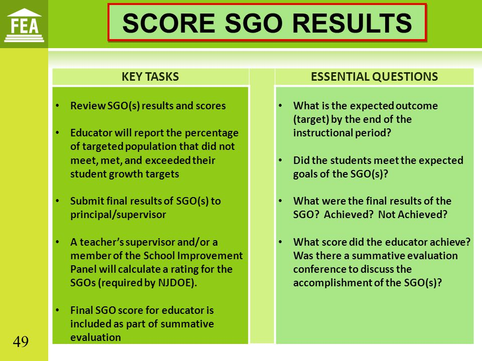 SCORE SGO RESULTS KEY TASKS ESSENTIAL QUESTIONS
