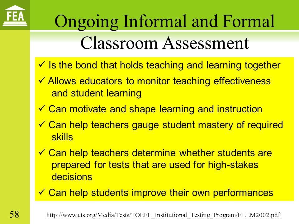 Ongoing Informal and Formal Classroom Assessment