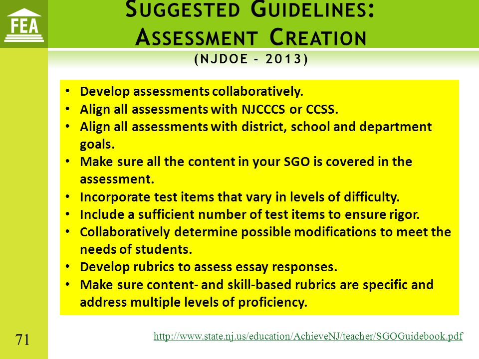 Suggested Guidelines: Assessment Creation (NJDOE - 2013)