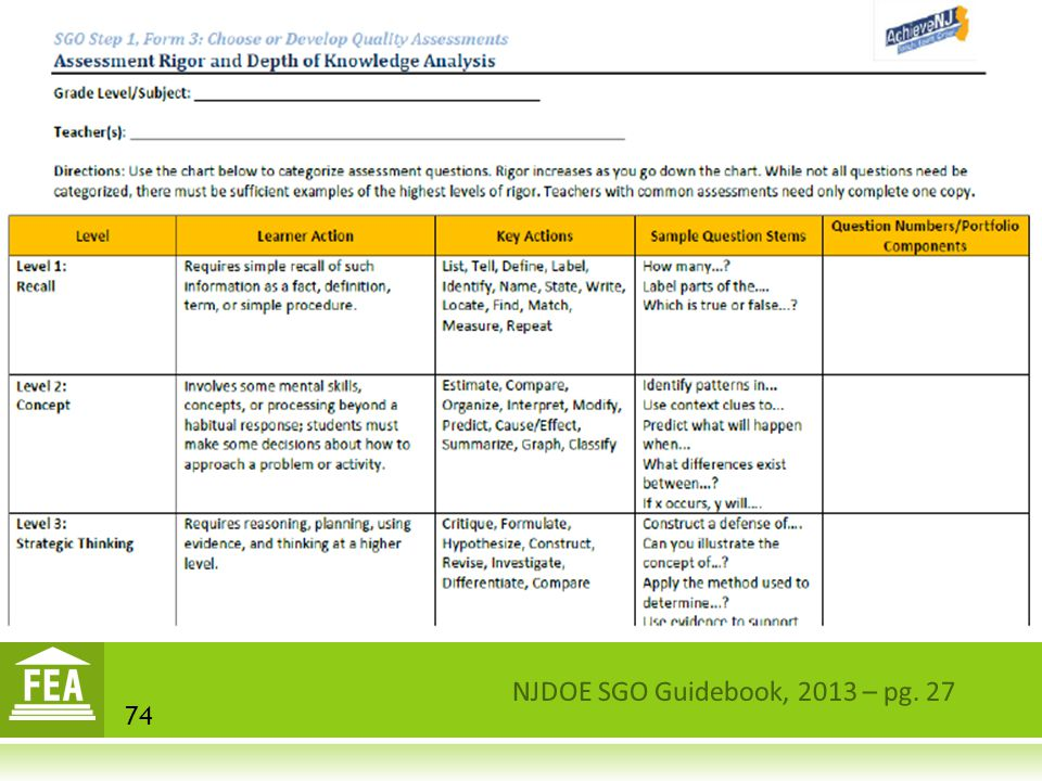 NJDOE SGO Guidebook, 2013 – pg. 27