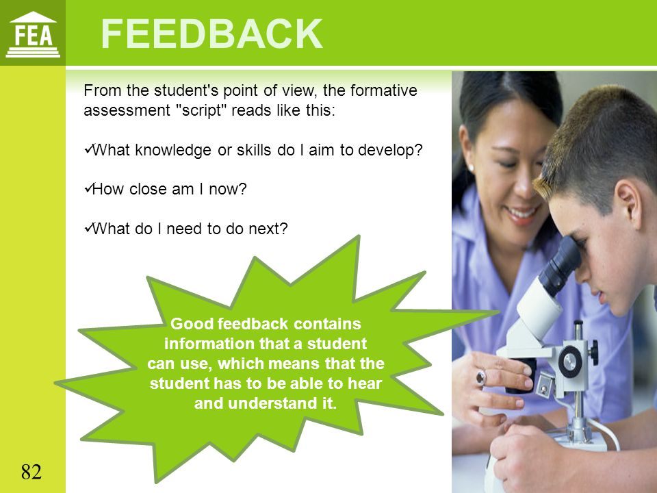 Good feedback contains information that a student