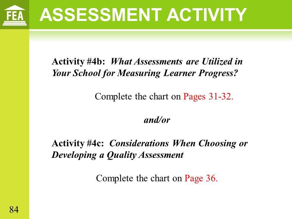 ASSESSMENT ACTIVITY Activity #4b: What Assessments are Utilized in Your School for Measuring Learner Progress