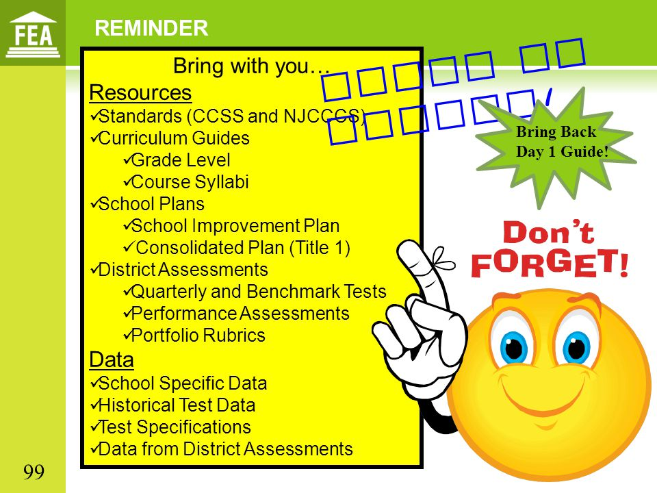 Paper or online! REMINDER Bring with you… Resources Data 99