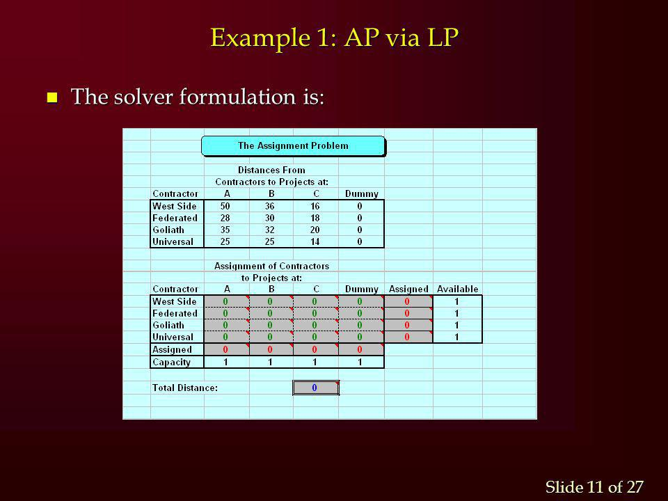 assignment solver models operations research models and methods  assignment problem hungarian algorithm and linear programming 11 example 1 ap via lp the solver formulation