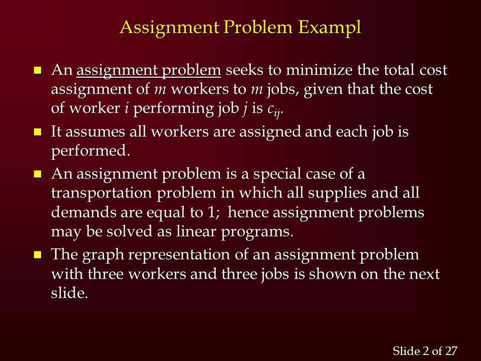 Assignment Problem Exampl