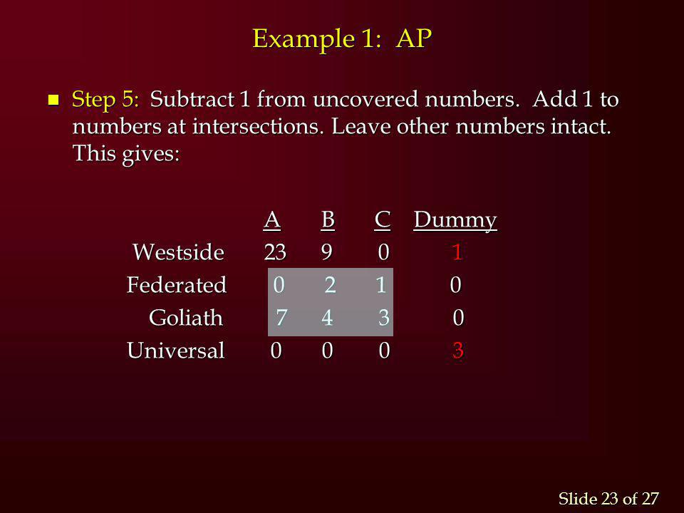 Example 1: AP Step 5: Subtract 1 from uncovered numbers. Add 1 to numbers at intersections. Leave other numbers intact. This gives: