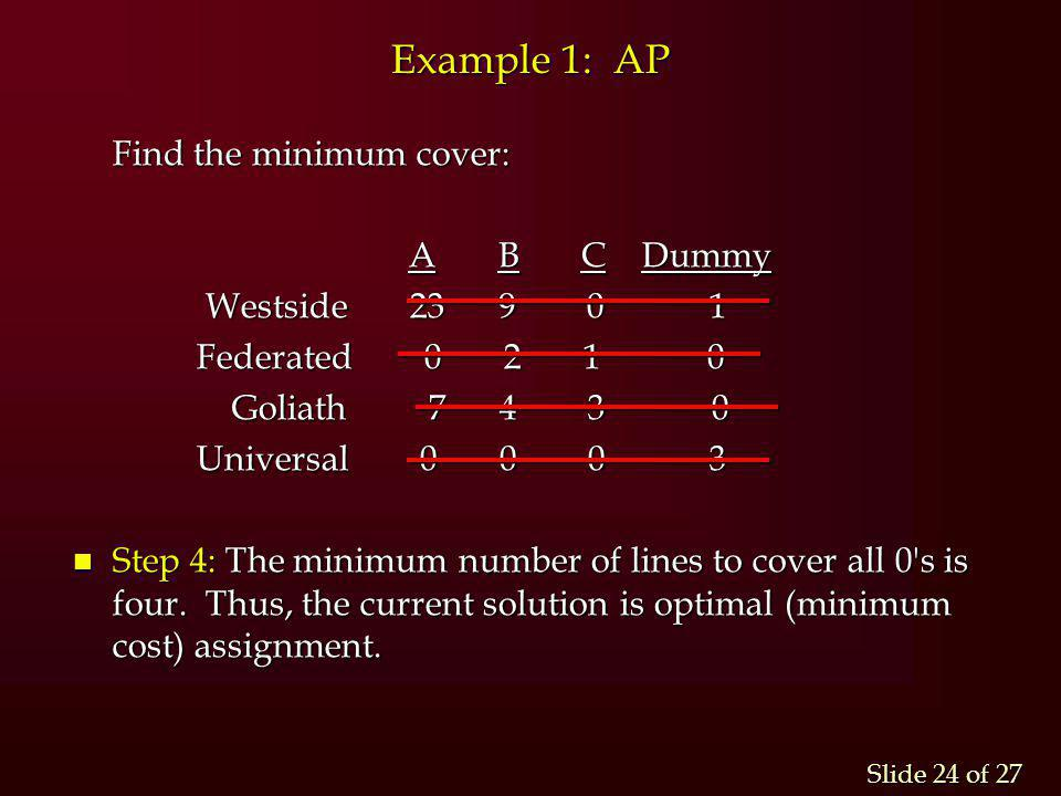 Example 1: AP Find the minimum cover: A B C Dummy Westside 23 9 0 1