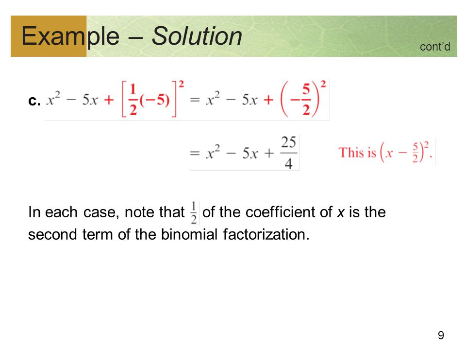 Example – Solution cont'd. c.