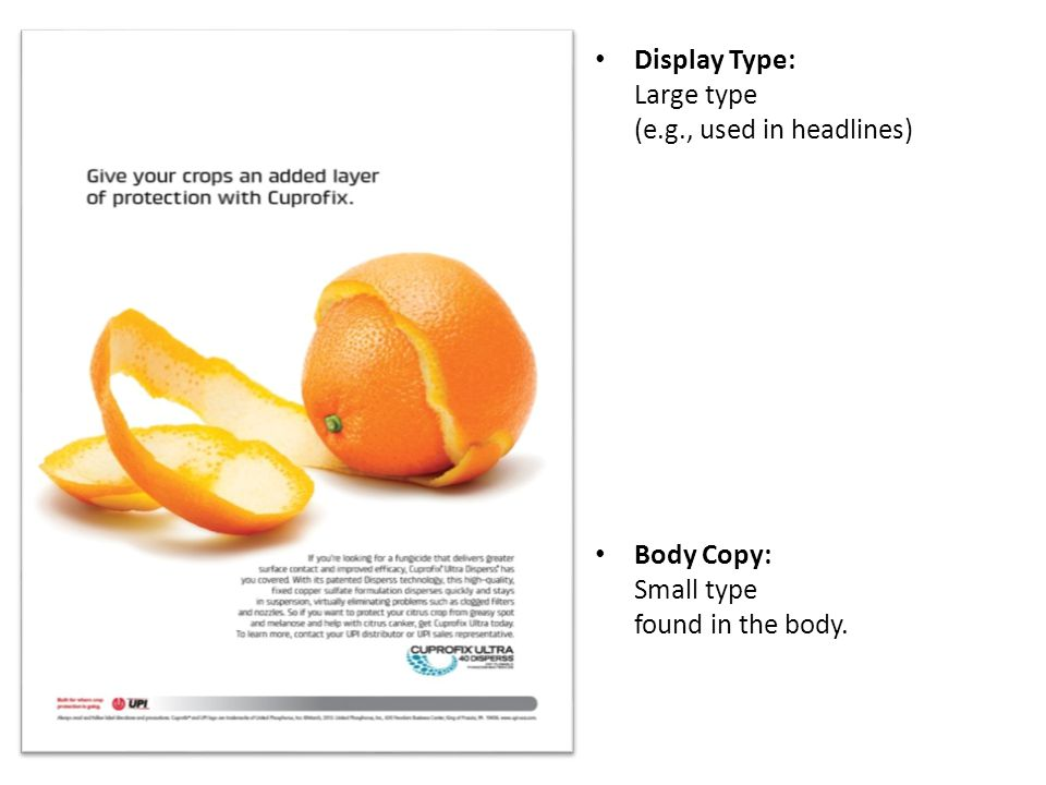 Display Type: Large type (e.g., used in headlines)