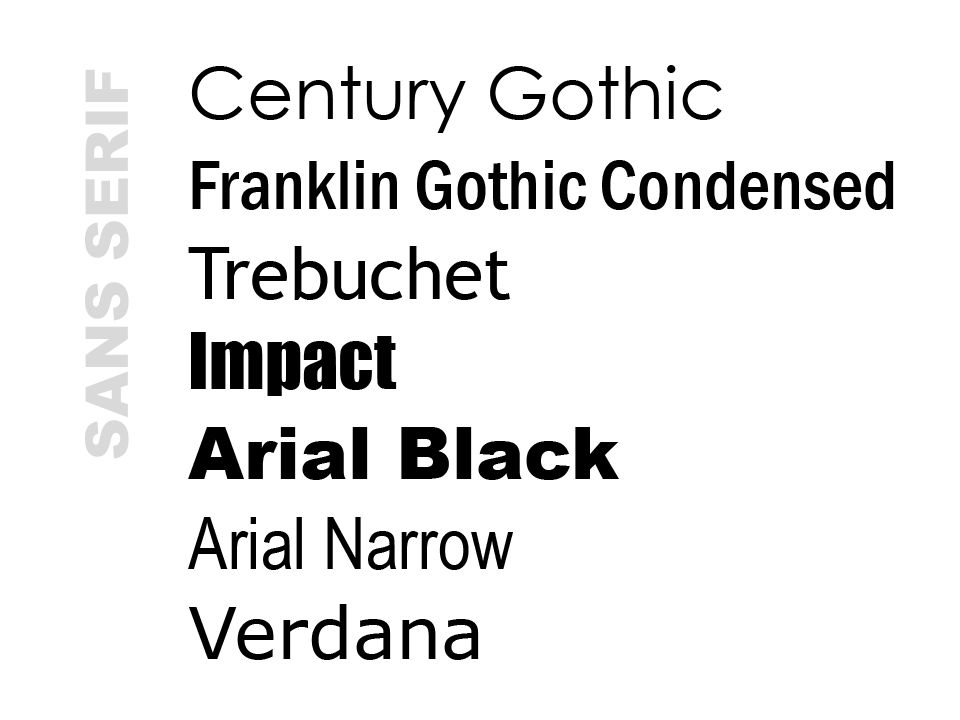 SANS SERIF These are all sans serif fonts, yet they vary greatly. Fonts within a family are not interchangeable.