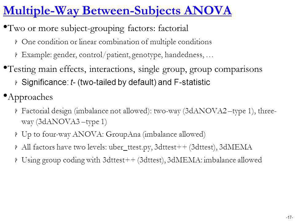 Multiple-Way Between-Subjects ANOVA