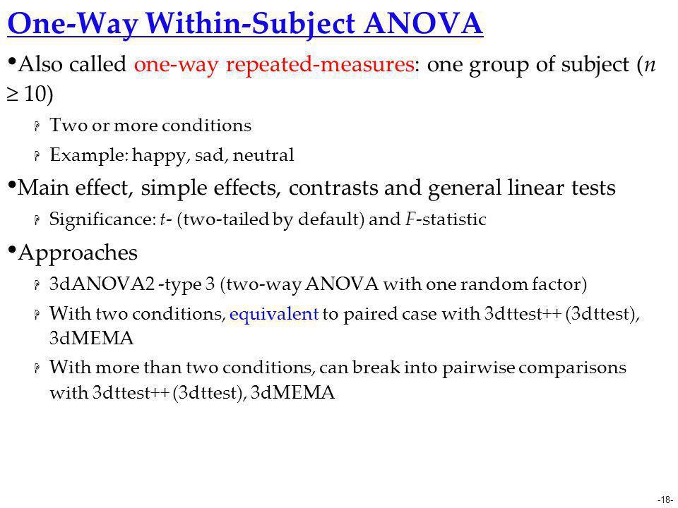 One-Way Within-Subject ANOVA