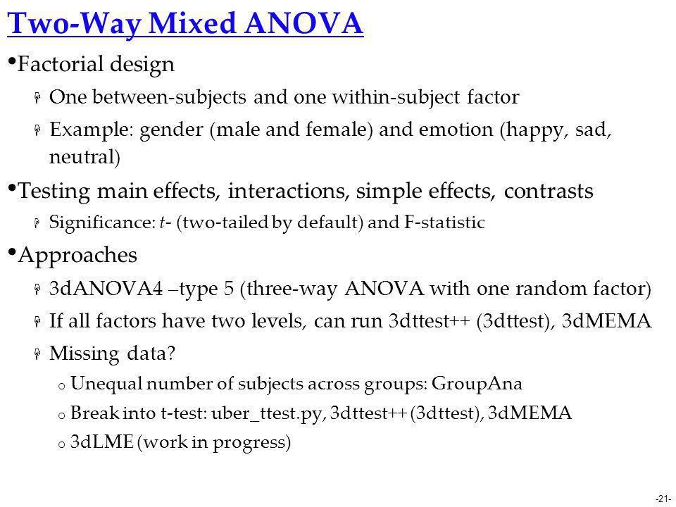 Two-Way Mixed ANOVA Factorial design