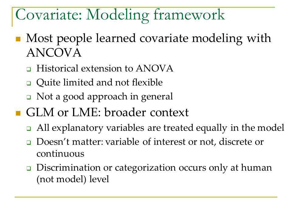 Covariate: Modeling framework