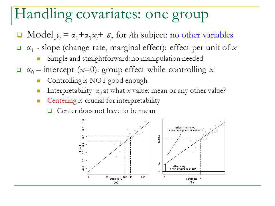 Handling covariates: one group