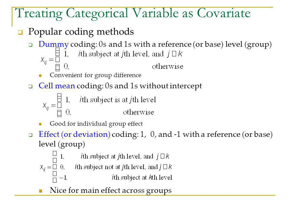 Treating Categorical Variable as Covariate