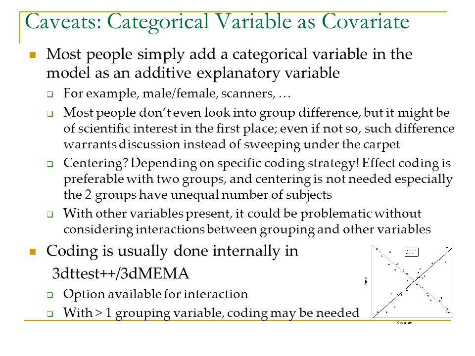 Caveats: Categorical Variable as Covariate