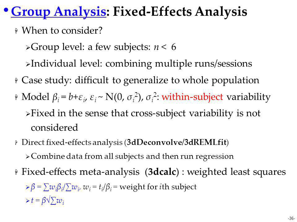 Group Analysis: Fixed-Effects Analysis