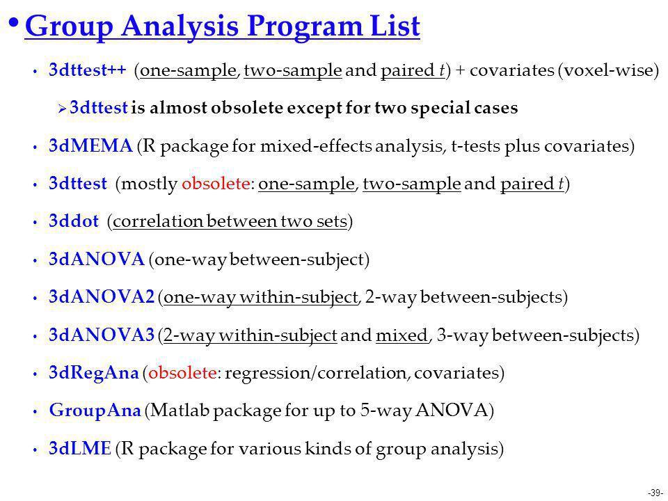 Group Analysis Program List